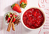 Strawberry spice chutney with small chili peppers, star anise and cinnamon