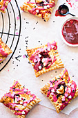 Puff pastry tartlets with rhubarb jam