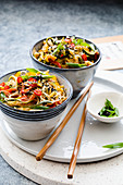 Soba noodle salad with peppers and chili (Asia)