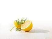 Lemon halves with dill