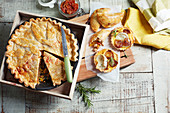 Beef keema pie, onion cheese tartlets and empanada pies with chicken
