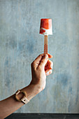 Woman hand holding watermelon and cream popsicle