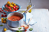 Homemade tomato sauce with roasted tomatoes