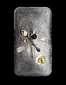 Kaviar, Auster und Wachtelei auf Eisblock