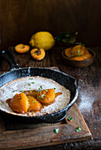 Dutch baby with pea flour and apricots