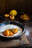 Dutch Baby mit Erbsenmehl und Aprikosen