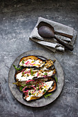 Eggplant roasted with buttermilk tahini sauce