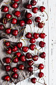 Sweet cherry on a white wooden table