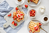 Yeast waffles with strawberries and cream