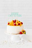 Pfirsich-Himbeer-Torte zum Geburtstag