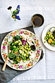 Fresh broad beans, zucchini and mozzarella salad