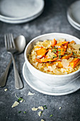 Pumpkin risotto with pan-fried pumpkin and parmesan shavings