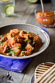 Beef curry with coriander and grilled bread