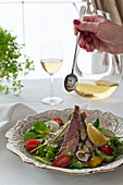 Colourful salad with smoked mackerel and herb dressing