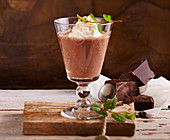 Spiced chocolate with cream, chilli and mint