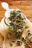 Tea mixture in a mason jar