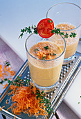 Savory kefir smoothie, fresh herbs and carrots