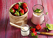 Lassi made from strawberries, natural yoghurt and milk