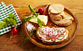 Sandwiches with radish slices