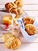 Baked yeast bread with cheddar and corn semolina in glasses