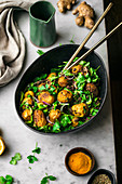 Curried Roasted Potato Salad with Cilantro and Greens