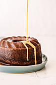 Malva Bundt Pudding (apricot sponge cake with vanilla sauce, South Africa)