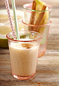 Grapefruit smoothie made with banana, buttermilk and cinnamon