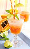 Papaya lemonade with lime and mint