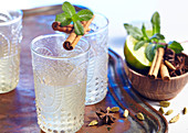 Moroccan iced tea with cinnamon, star anise, cardamom and mint