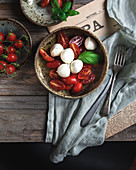 Caprese salad (tomatoes with mozzarella and basil, Italy)