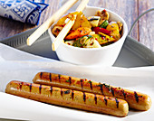 Vegan Thuringian sausages with a grilled vegetable salad