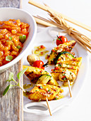 Grilled polenta and vegetable skewers with tomato salsa