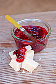 Plum and apple jam with cheese