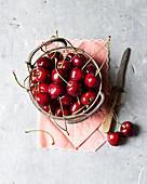 Fresh cherries in a basket