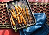 Spiced carrots on a baking sheet