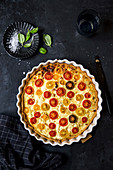 Tomato quiche in a baking dish