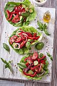 Tomaten-Paprika-Salat mit Gurken und Zwiebeln auf Chinakohlblättern