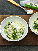 Risotto with hops sprouts and goat's cream cheese