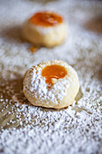 Husarenkrapferln (shortbread jam biscuits) in icing sugar