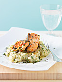 Mashed parsnips and celeriac with fried salmon