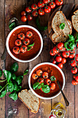Savory tomato soup with basil