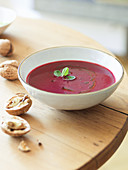 Beetroot soup with walnuts