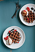 Chocolate waffles with mascarpone and chocolate brandy syrup