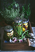Composition of potted plant, lemons and glass jar with raw green beans in wooden box