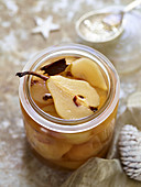 Christmas spiced pears in a glass jar