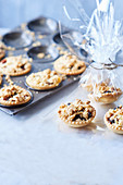 Custard and crumble mince pies