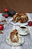 Apple and cream cheese Bundt cake with pecan nuts
