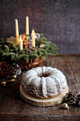 A Christmas Bundt cake dusted with icing sugar