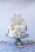 A festive Christmas cake decorated with snowflakes