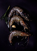 Raw prawns on a black surface with rosemary and olive oil